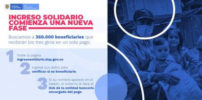 Banca de Oportunidades invita a reclamar Ingreso Solidario