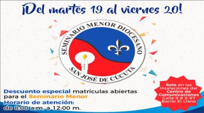 Inscripciones abiertas en el Seminario Menor San José de Cúcuta